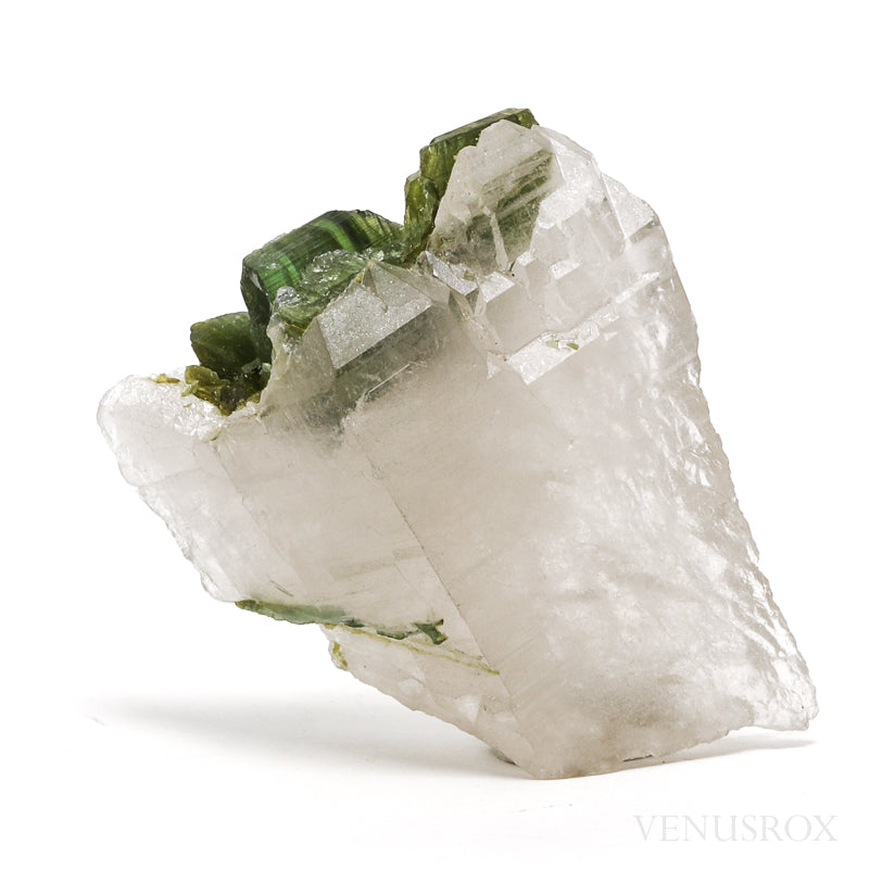Green Tourmaline on Self Healed Cathedral Clear Quartz Natural Crystal from Brazil | Venusrox