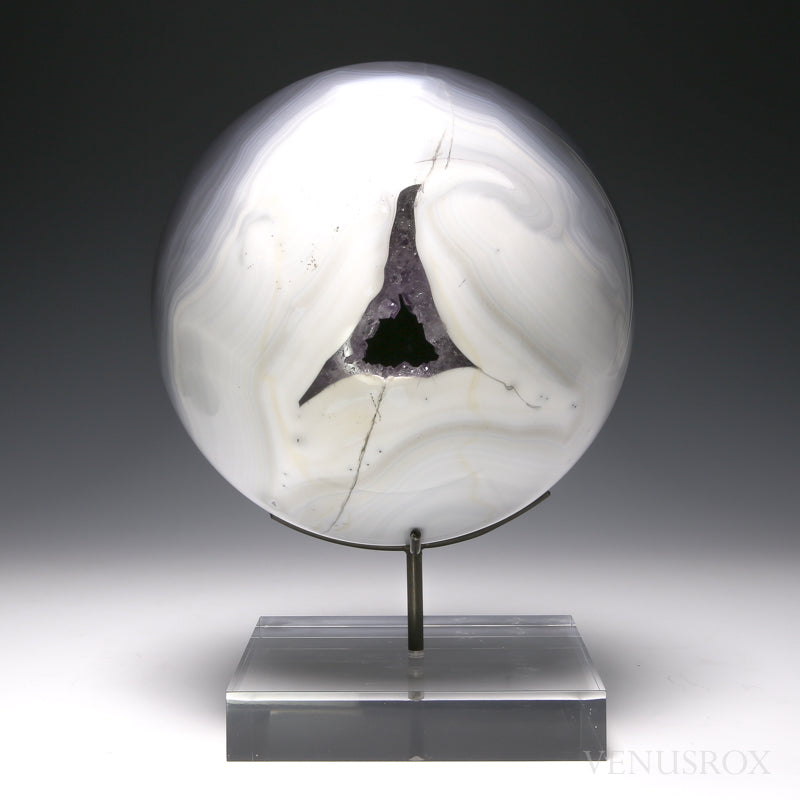 Agate with Amethyst Geode Sphere from Brazil mounted on bespoke stand | Venusrox