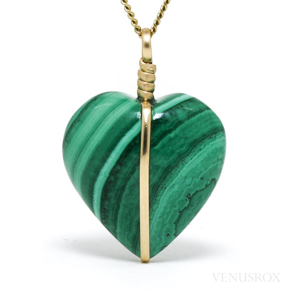 Malachite Polished Heart Pendant from the Democratic Republic of Congo | Venusrox