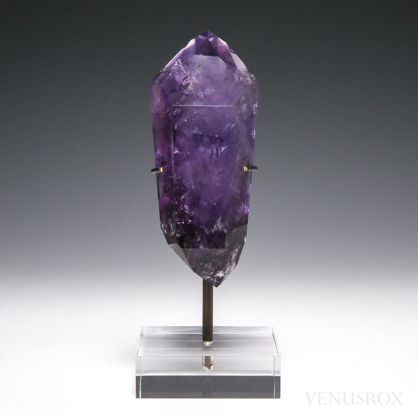 Amethyst Phantom Polished Double Terminated Point from Brazil, mounted on a bespoke stand | Venusrox