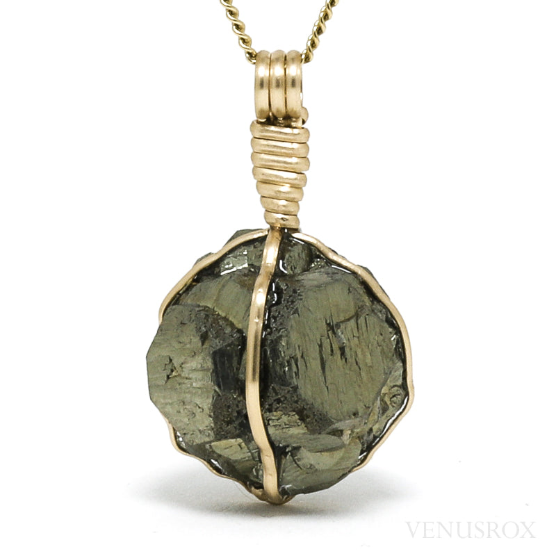 Pyrite Natural Crystal Pendant from the American Aggregates Corp. Quarry, Indianapolis, Marion County, Indiana, USA | Venusrox