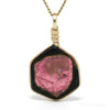 Pink & Brown Tourmaline Polished Slice Pendant from Russia | Venusrox