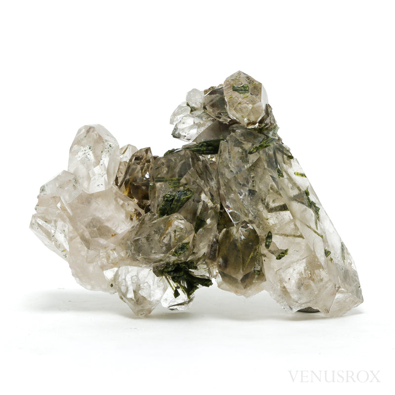 Clear Quartz with Epidote Natural Cluster from Brazil | Venusrox