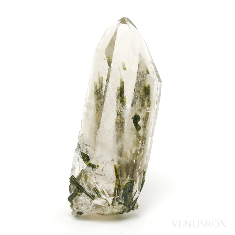 Smoky Quartz with Epidote Natural Point from Brazil | Venusrox