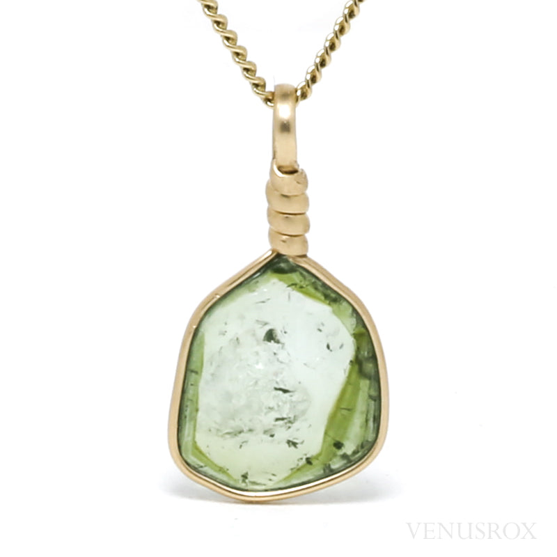 Green Tourmaline Polished Slice Pendant from Mozambique | Venusrox