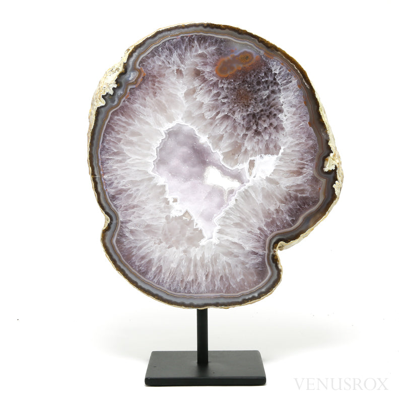 Agate with Amethyst Part Polished/Part Natural Slice from Brazil mounted on a bespoke stand | Venusrox
