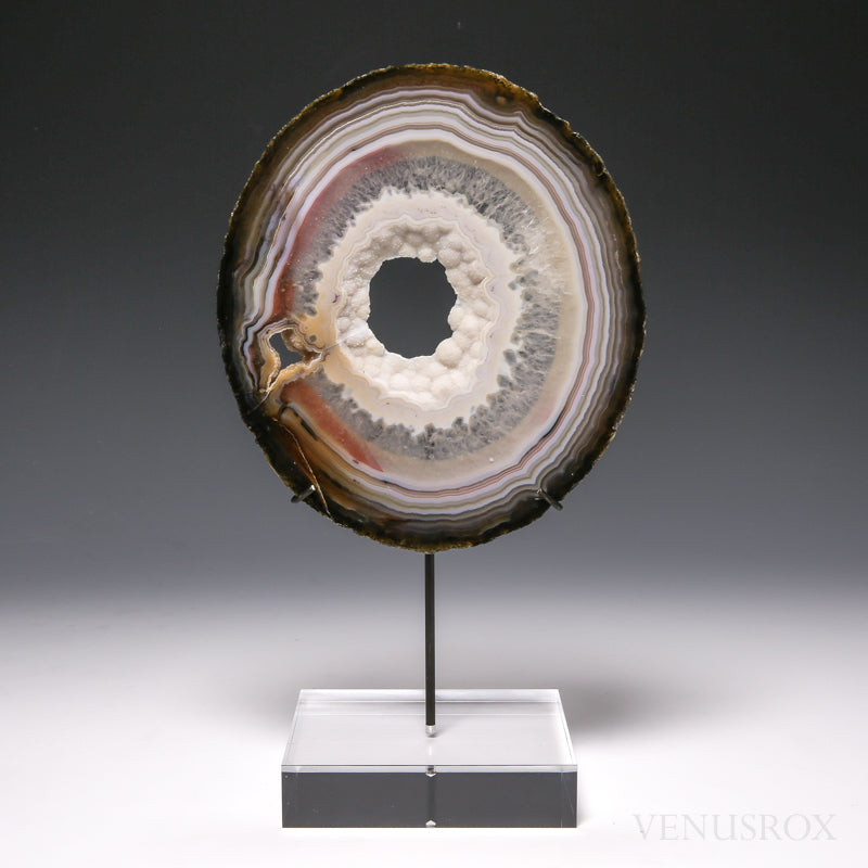 Agate with Quartz Polished Slice from Brazil, mounted on a bespoke stand | Venusrox