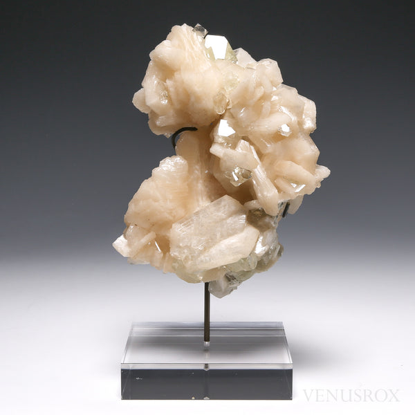 Stilbite with Green Apophyllite Natural Cluster from Maharashtra, India, mounted on a bespoke stand | Venusrox