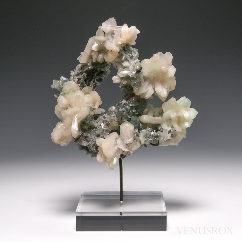 Stilbite on Chalcedony with Green Apophyllite & Celadonite Natural Cluster from Maharashtra, India, mounted on a bespoke stand | Venusrox