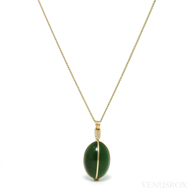 Green Nephrite Jade Polished Crystal Pendant from the Sayan Mountains, Russia | Venusrox