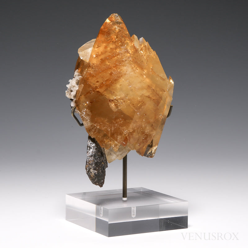 Stellar Beam Calcite with Sphalerite Natural Crystal from the Elmwood Mine, Tennessee, USA, mounted on a bespoke stand | Venusrox