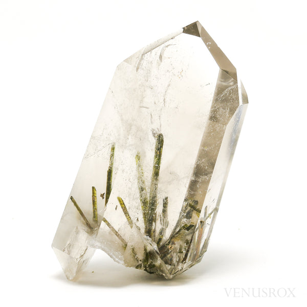 Smoky Quartz with Epidote Part Polished/Part Natural Double Terminated Point from Brazil | Venusrox