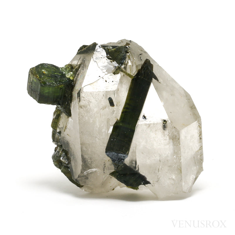 Green Tourmaline and Quartz Natural Crystal from Brazil | Venusrox