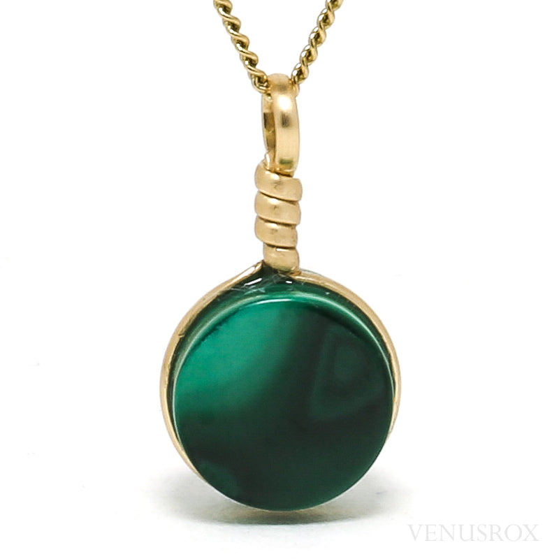 Malachite Polished 'Disc' Pendant from the Democratic Republic of Congo | Venusrox