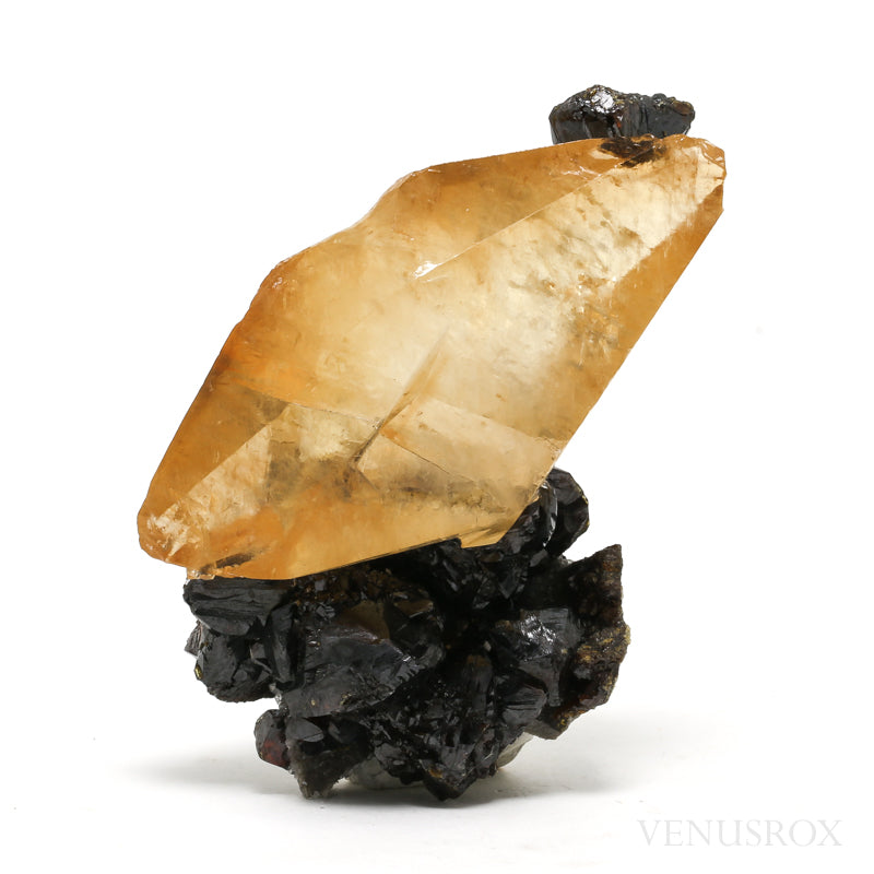 Stellar Beam Calcite with Sphalerite Natural Crystal from the Elmwood Mine, Tennessee, USA | Venusrox