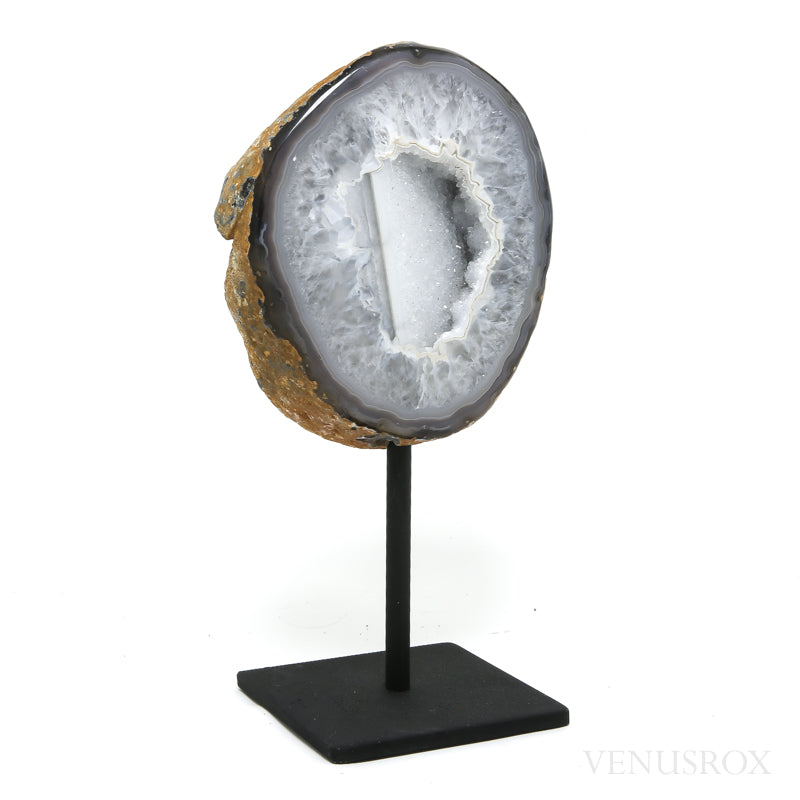 Agate with Quartz Part Polished/Part Natural Slice from Brazil mounted on a stand | Venusrox