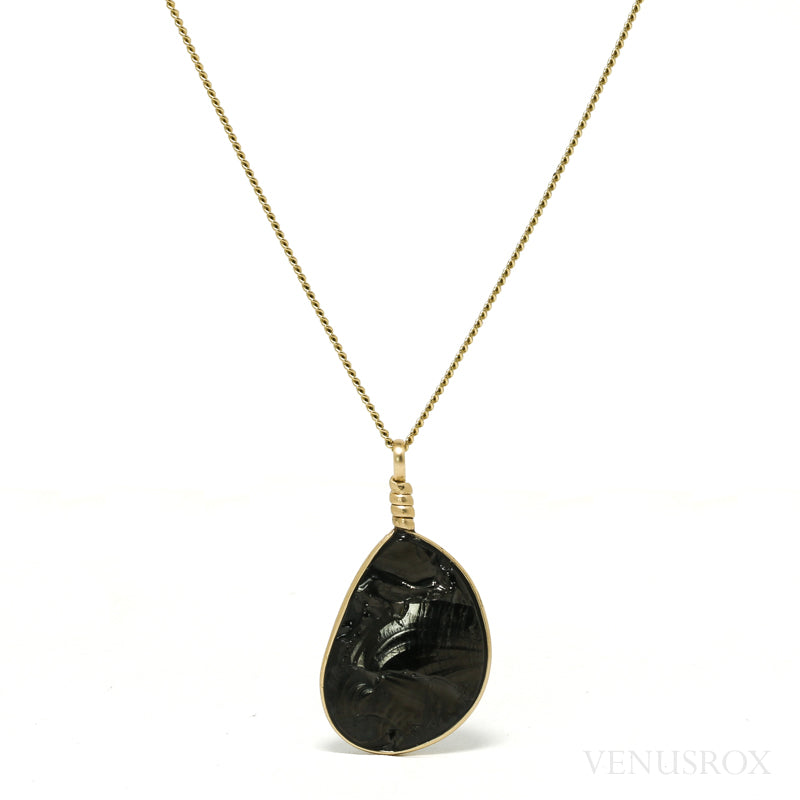 Elite Shungite Part Polished Crystal Pendant from Shunga, Karelia, Russia | Venusrox