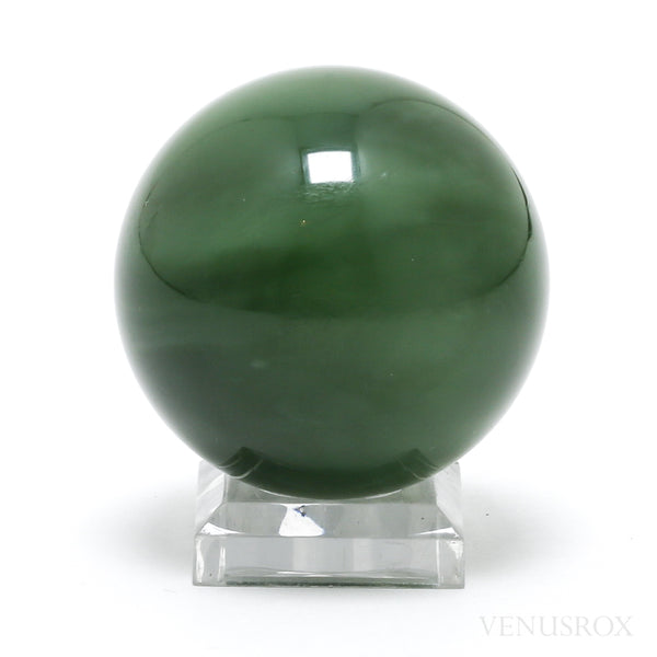 Cats Eye Green Nephrite Jade Sphere from the Sayan Mountains, Russia | Venusrox