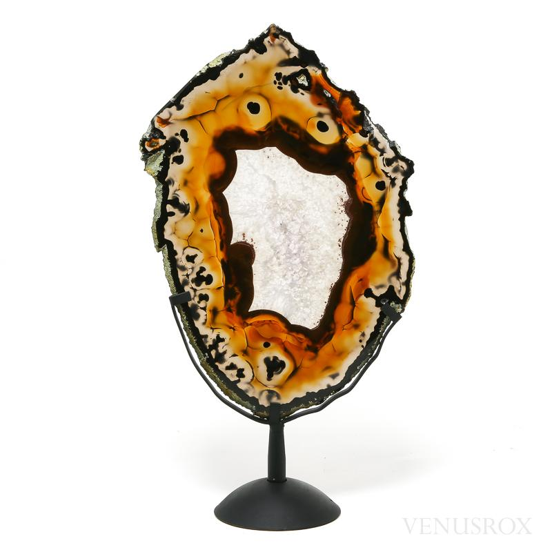 Agate with Quartz Part Polished/Part Natural Slice from Brazil mounted on a bespoke stand | Venusrox