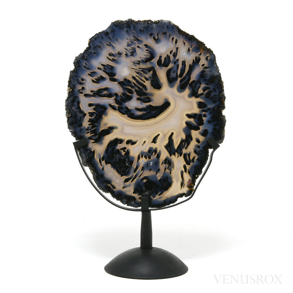 Agate Part Polished/Part Natural Slice from Brazil mounted on a bespoke stand | Venusrox