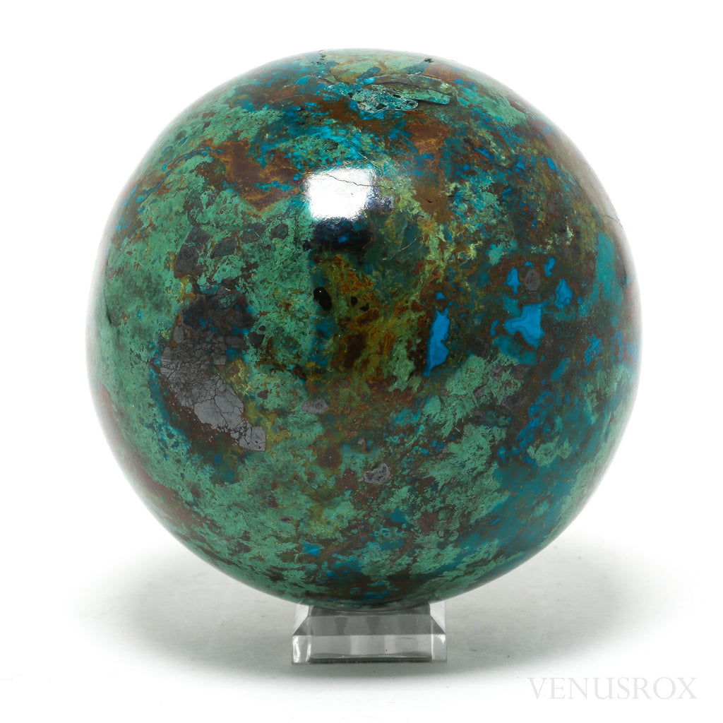 CHRYSOCOLLA WITH MALACHITE SPHERE
