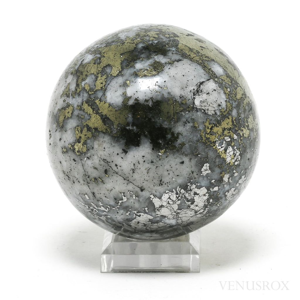 Chalcopyrite with Quartz Polished Sphere from Peru | Venusrox