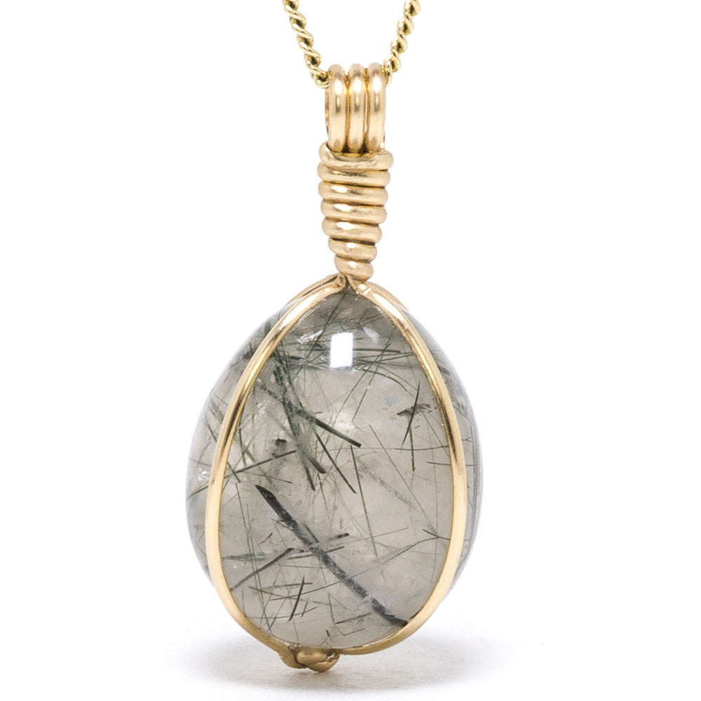 Quartz (Clear) with Epidote Tear Drop Pendant