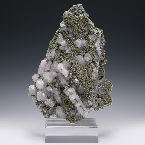 Calcite (Mangano) with Pyrite and Chalcopyrite Cluster