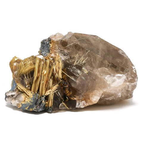 Rutile (Golden), Hematite and Smoky Quartz Natural Cluster
