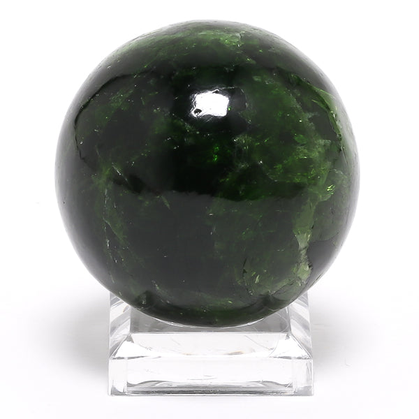 Chrome Diopside Polished Sphere from Sakha, Siberia, Russia | Venusrox