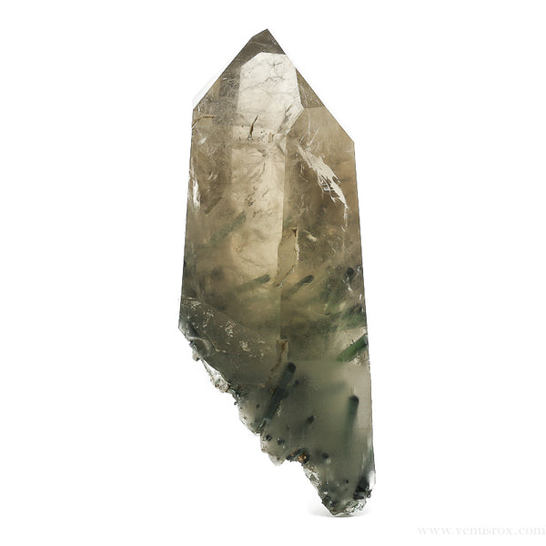 Smoky Quartz Polished Point with Green Tourmaline from Brazil | Venusrox