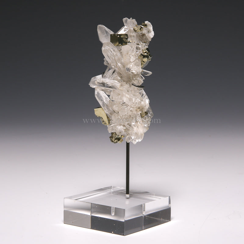 Quartz with Pyrite Natural Cluster from Huanzala Mine, Huallanca District, Dos de Mayo Province, Huánuco Department, Peru mounted on a bespoke stand | Venusrox