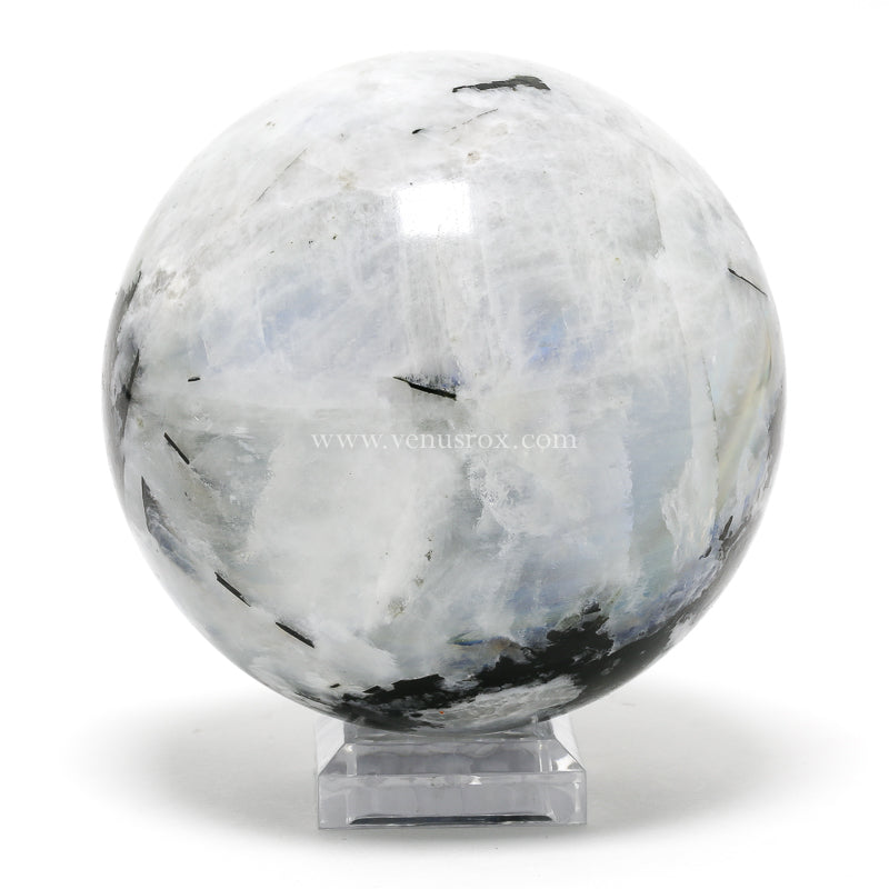 MOONSTONE (RAINBOW) WITH TOURMALINE (BLACK) SPHERE