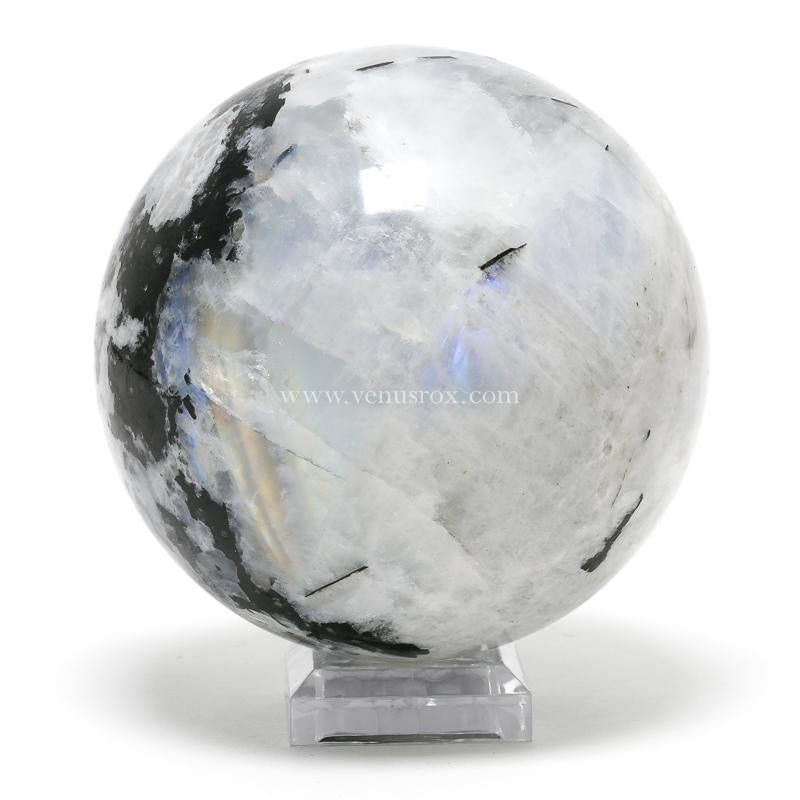 Rainbow Moonstone with Black Tourmaline Polished Sphere from India | Venusrox