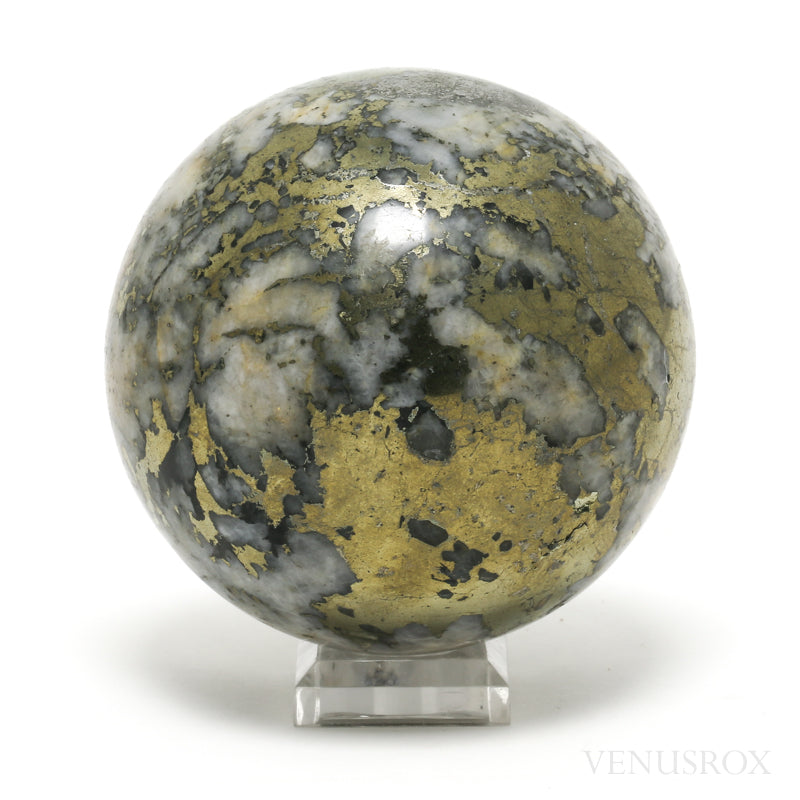 Pyrite in Quartz Polished Sphere from Peru | Venusrox