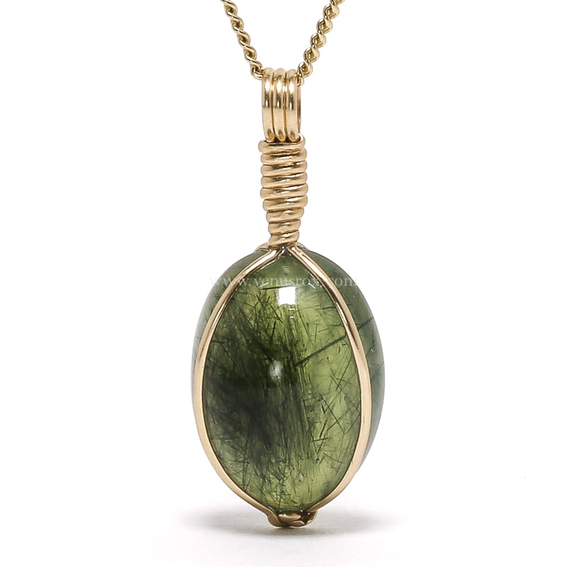 Prehnite with Epidote Polished Crystal Pendant from Brazil | Venusrox