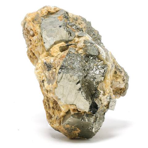 Pyrite with Calcite Cluster