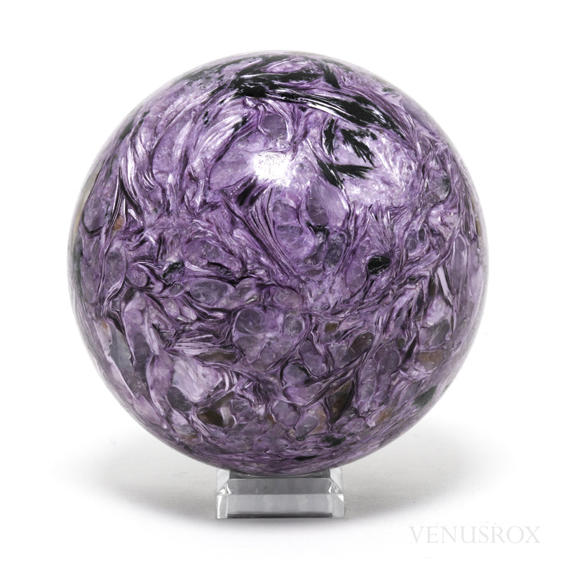 Charoite with Aegirine Polished Sphere from the Chary River area in the Murun Massif, Northwest Aldan, Yakutsk, Russia | Venusrox