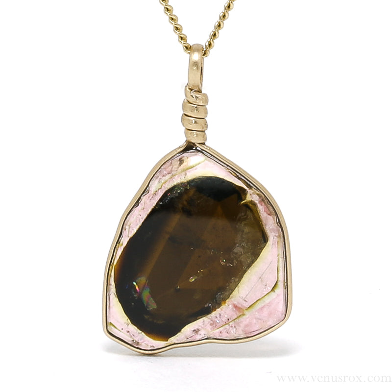 Pink, Green and Brown Tourmaline Natural Crystal Pendant from Tajikistan | Venusrox