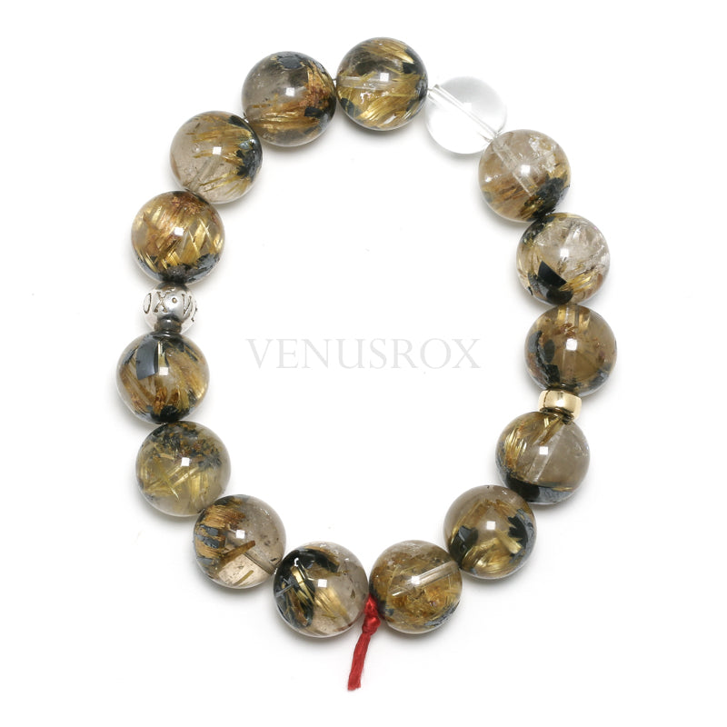 Golden Rutile with Hematite in Quartz Bracelet from Novo Horizonte, Bahia, Brazil | Venusrox