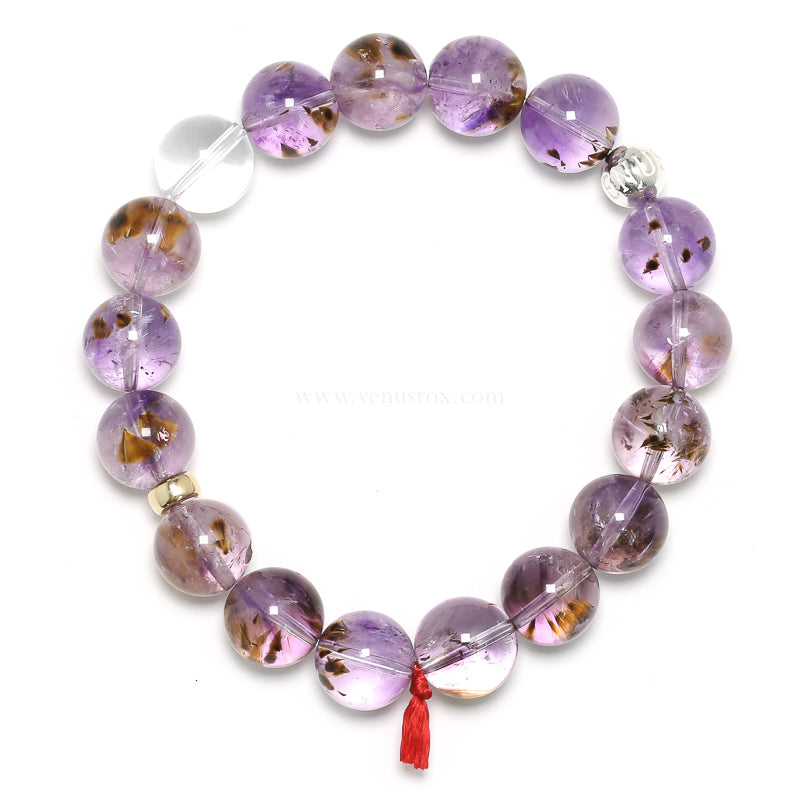 Amethyst with Cacoxenite Bracelet from Brazil | Venusrox