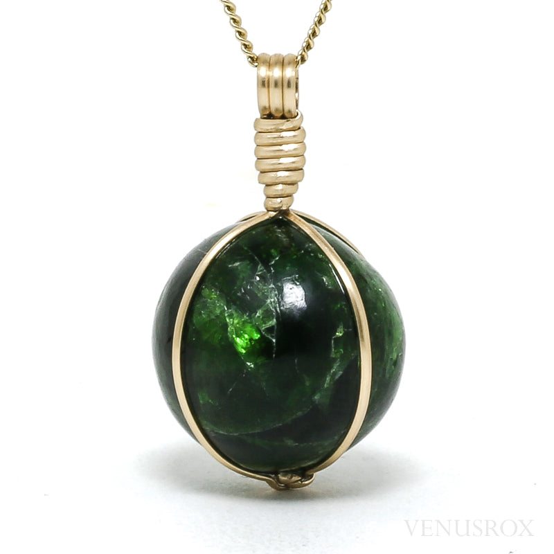 Chrome Diopside Polished Sphere Pendant from Russia | Venusrox