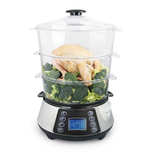 3 Layer / Tier Stainless Steel Digital Food Steamer with Rice Cooking Bowl HF8333