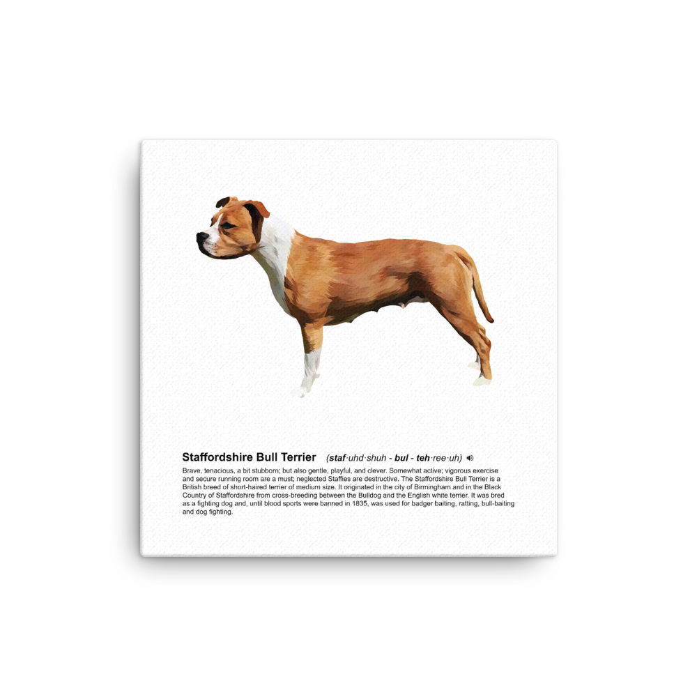 Staffordshire Bull Terrier Heritage Canvas - Pedigree Prints
