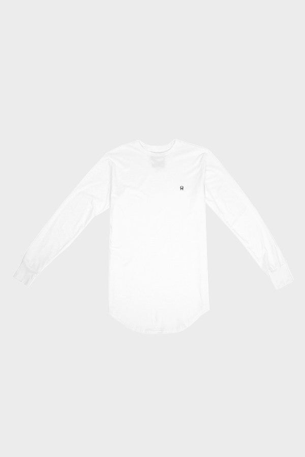 'PATCH LOGO' LONG TAIL LONG SLEEVE WHITE SHIRT // UNISEX