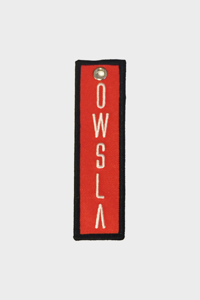 'OWSLA' RED CANVAS KEYCHAIN