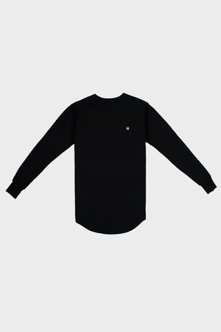 'PATCH LOGO' LONG TAIL LONG SLEEVE BLACK SHIRT // UNISEX