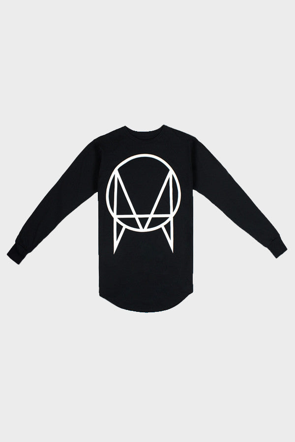 'OWSLA LOGO' SCALLOP LONG SLEEVE BLACK // UNISEX