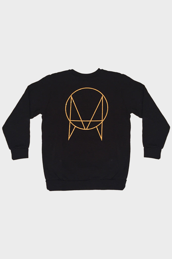 'GOLD OWSLA LOGO' FRENCH TERRY POCKET CREW BLACK // UNISEX