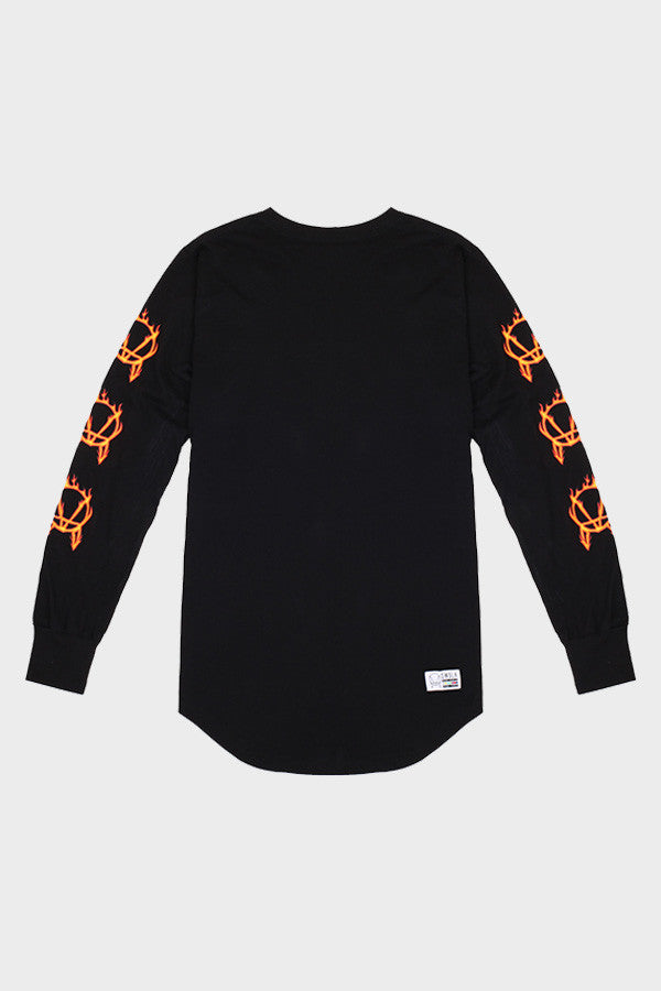 'RED FLAMES' LONG SLEEVE SHIRT // UNISEX